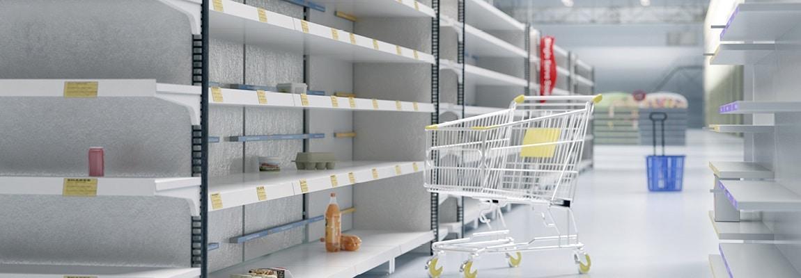 מדפים ריקים בסופרמרקט בצל בהלת הקורונה